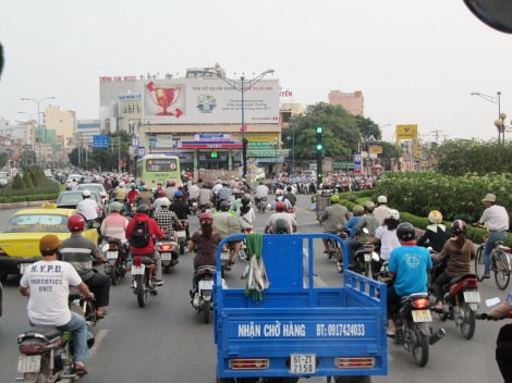 Saigon traffic during rush hour
