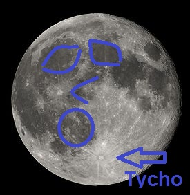 "View of the moon from the Northern Hemisphere. Tycho crater appears on bottom (southern pole) of the moon. The infamous ""Man on the Moon"" is clearly visible."
